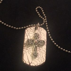 Jewelry - Rustic dog tag style cross necklace on cork